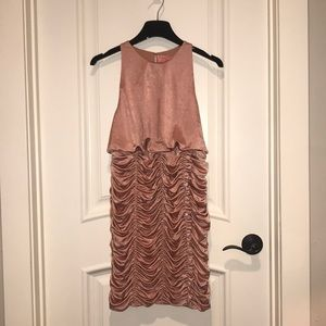 Free People pink ruched mini bodycon dress, S